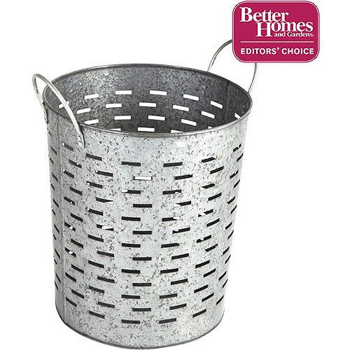 Better Homes And Gardens Small Galvanized Bin Silver: Better Homes And Gardens Galvanized Round Bin, Silver