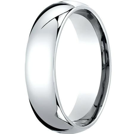 Mens 14K White Gold, 6mm Slim Profile Comfort-Fit Wedding Band