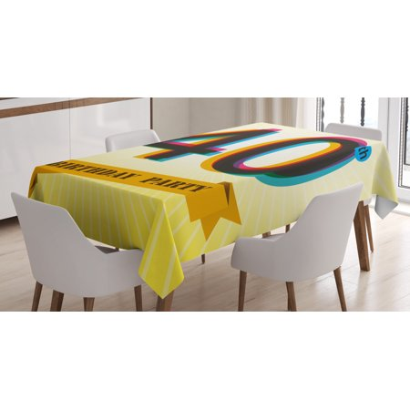 40th Birthday Decorations Tablecloth, Vintage Graphic Banner Party Invitation Theme Optical Striped, Rectangular Table Cover for Dining Room Kitchen, 52 X 70 Inches, Multicolor, by Ambesonne Birthday Invitations Decorations