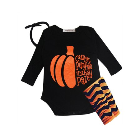 StylesILove Halloween Pumpkin 4-piece Baby Girl Costume Clothing Set (6-12 months)