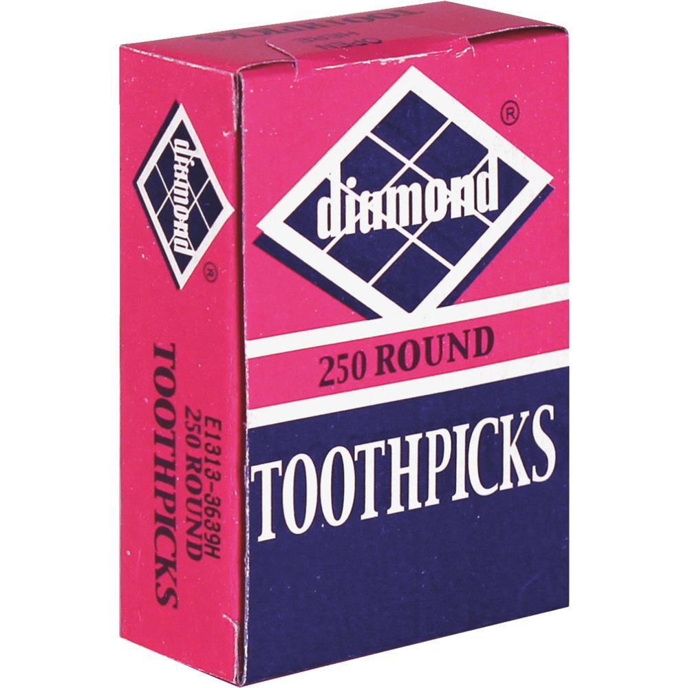 Diamond Round Wood Toothpicks, 250 Count