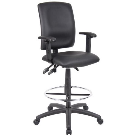 Multi-function leather Drafting chair Adjustable T-arms, Ergonomic Drafting Stool-Black Leatherette Draft