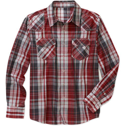 No Boundaries Men's Yarn Dye Plaid Woven Shirt