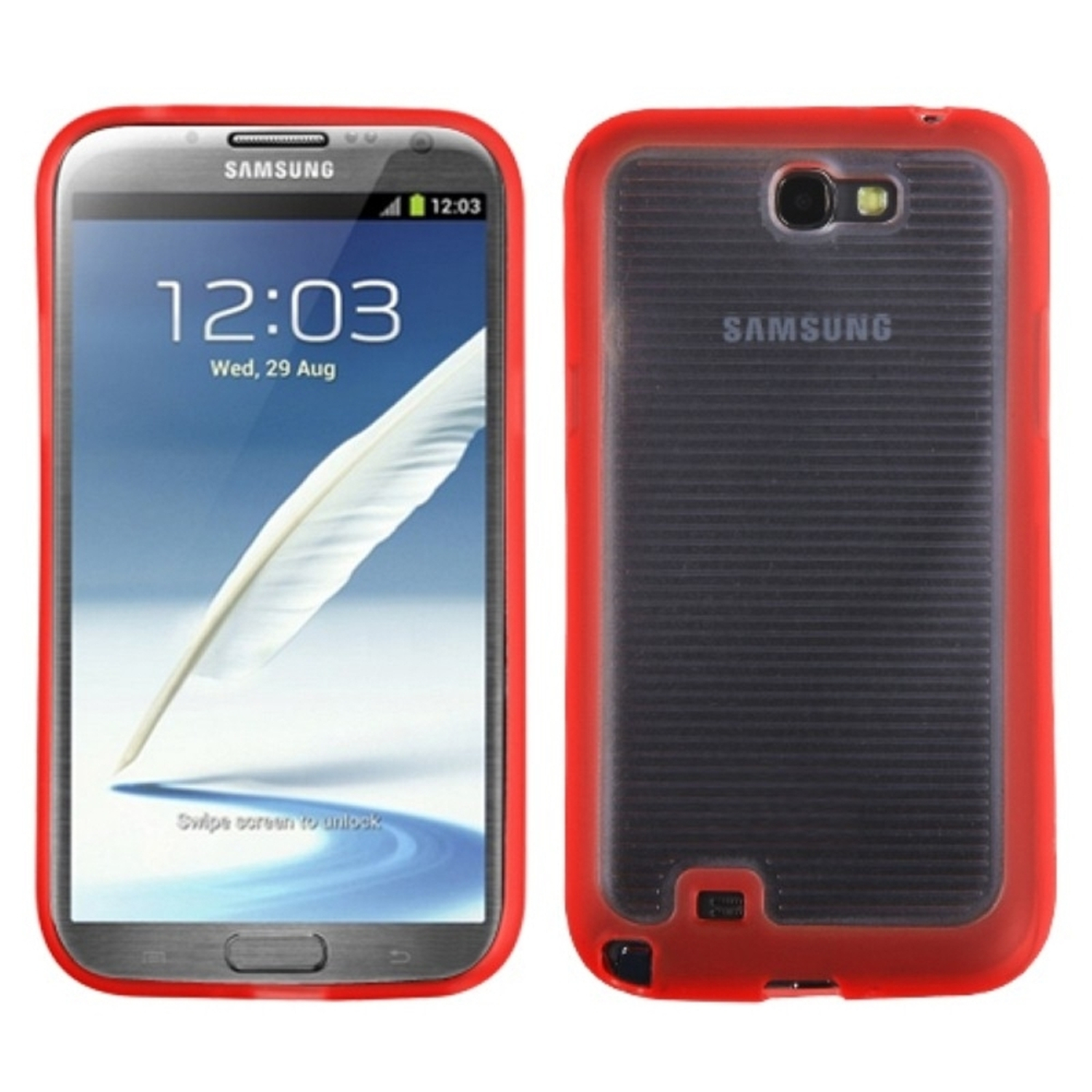 Insten Horizontal Stripes Transparent Clear/Solid Red Blue Gummy Cover Case for SAMSUNG Galaxy Note II (T889/I605/N7100)