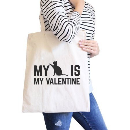 My Cat Is My Valentine Natural Canvas Bag  Gift Ideas For Cat Lover - Gift Bags Ideas