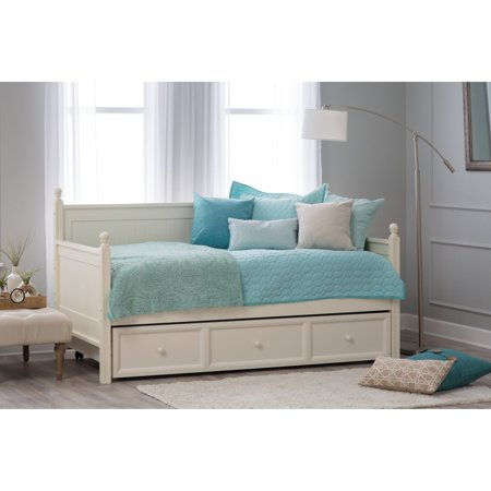 Leggett Platt Wood Daybed Ball Finials Roll Out Trundle Drawer White Twin
