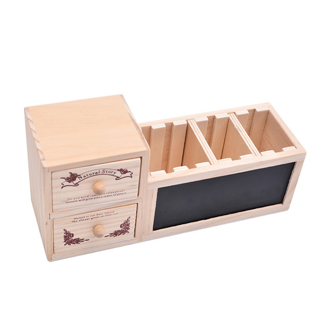 Multifunctional Wooden Office Organizer With Drawer Pencil Holder Blackboard Message Board Penholder Walmart Canada