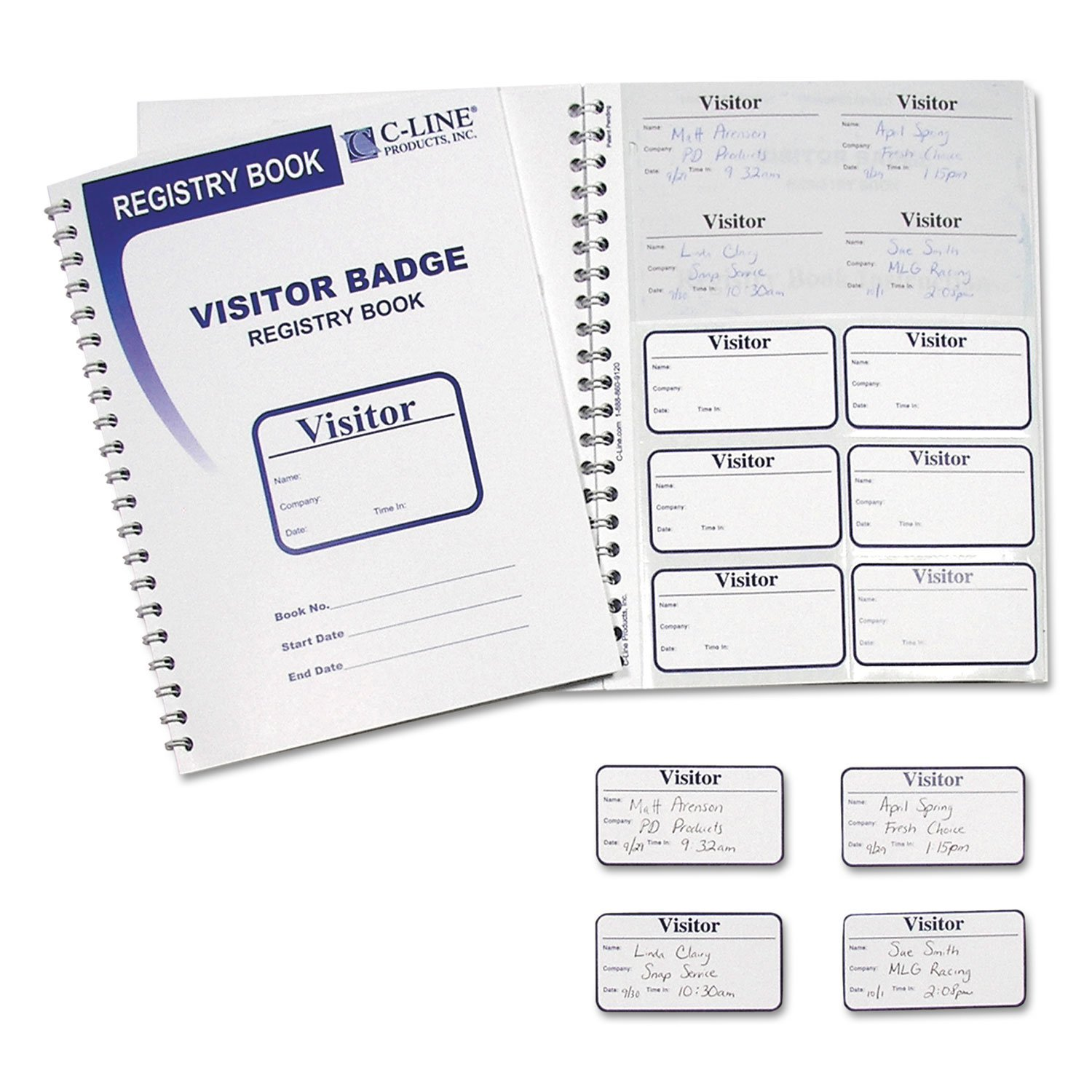 C-Line Visitor Badges with Registry Log, 3 1/2 x 2, White...