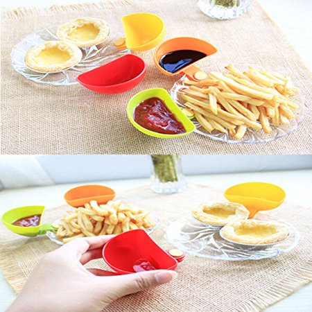 Windspeed 6 Set Assorted Dip Clips/ Clip-on Dip Plate Grab Holders/Dish Container for Tomato Sauce Salt Vinegar Sugar Flavor Spices Pasta Excellence Set