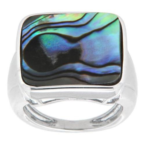 Pearlz Ocean Sterling Silver Rhodium Plated Square Abalone Shell Fancy Ring Square Size 5