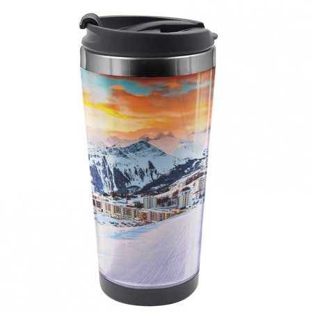 EAN 8682532674724 product image for Winter Travel Mug, Winter Season Mountain, Steel Thermal Cup, 16 oz, by Ambesonn | upcitemdb.com