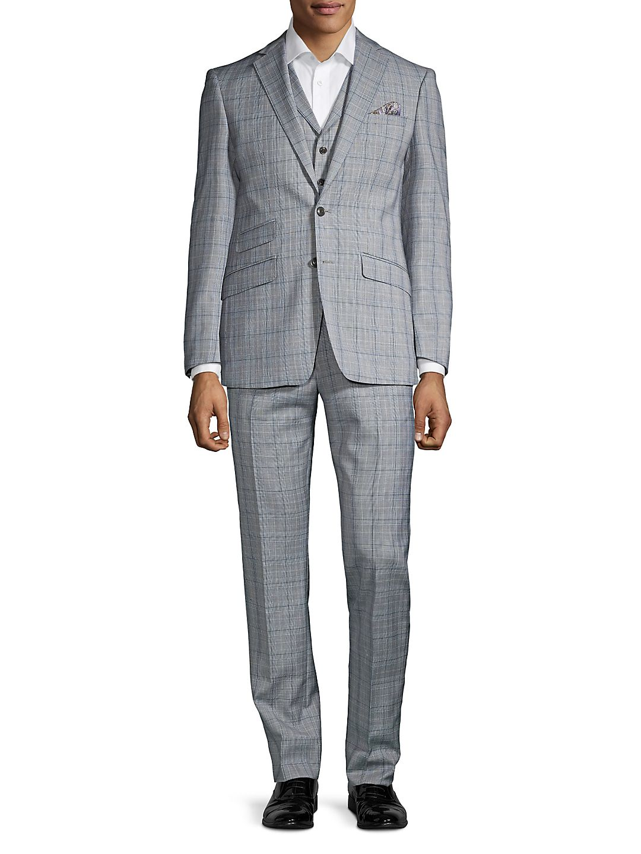 Windowpane Wool Blend Vested Suit
