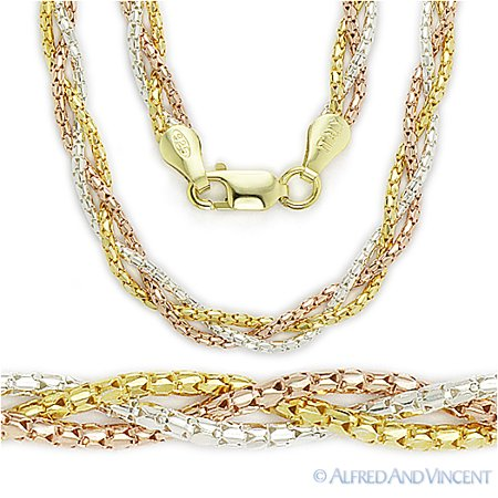 Braided Multi-Chain Italian Rope Necklace in 14k Gold Plated 925 Sterling Silver