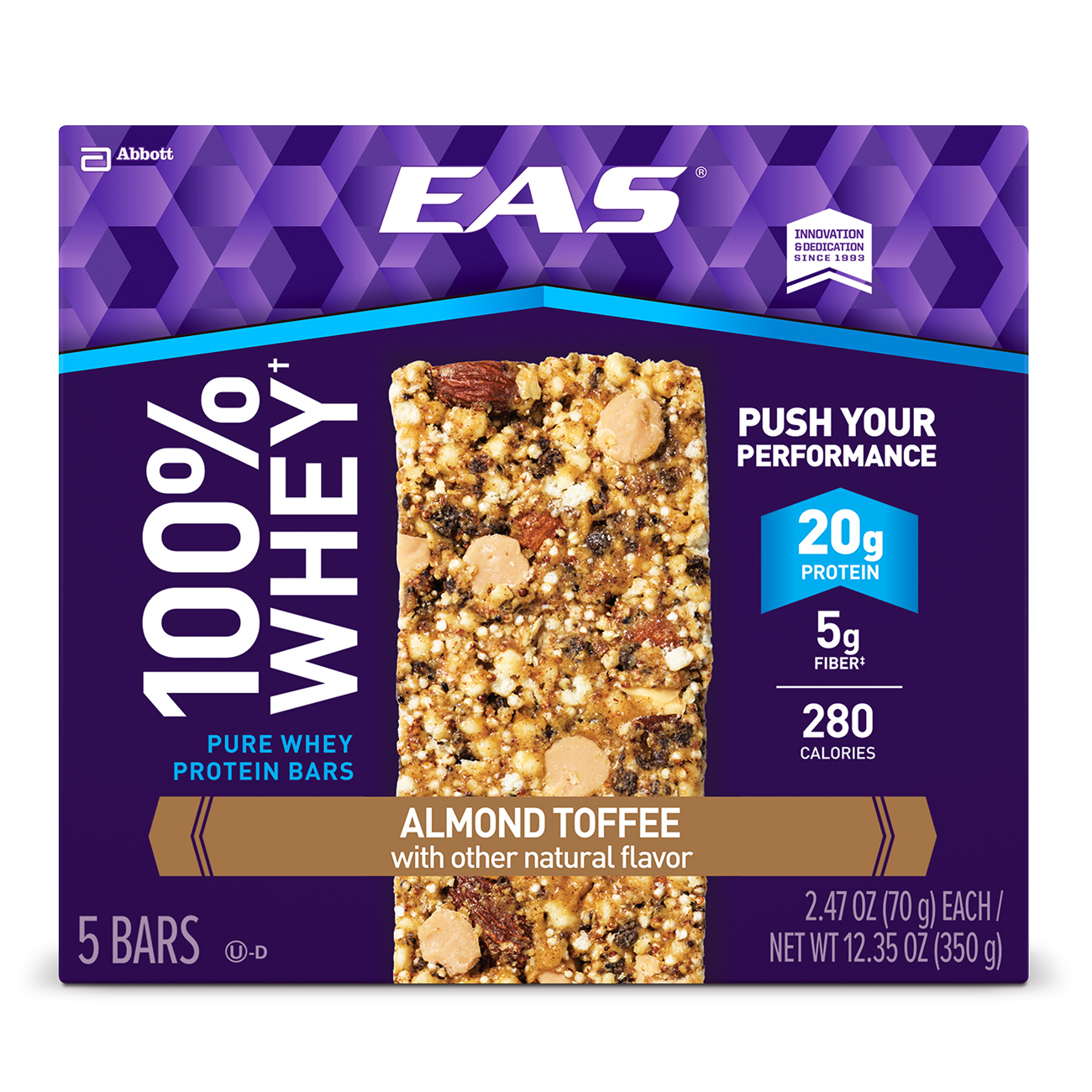 EAS�� 100% Whey Protein Bar, Almond Toffee, 2.47 oz (Pack of 5)