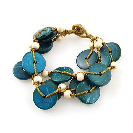 (Unique Bargains Lady Turquoise Round Coconut Shell Bead String Bracelet)