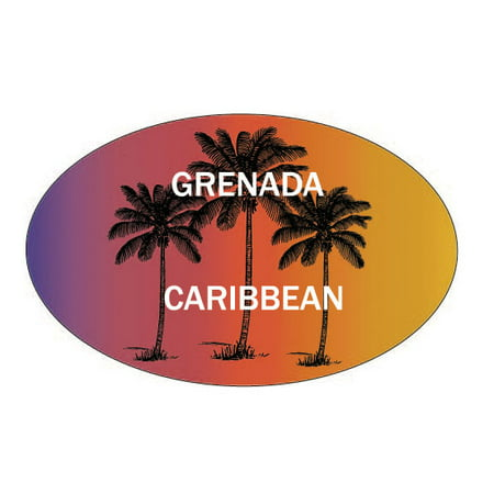 Grenada Caribbean Souvenir Palm Trees Surfing Trendy Oval Decal Sticker ()