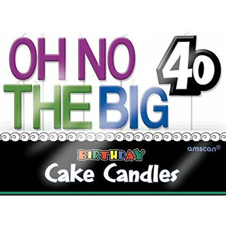 The Party Continuous 40th Birthday Party 'Oh No The Big 40' Molded Toothpick Candle Decoration, Pack of 11, Multi , 3' Wax