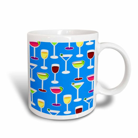 3dRose Cocktail Party Alcoholic Beverages Print - Blue, Ceramic Mug, 11-ounce - Non Alcoholic Halloween Cocktails
