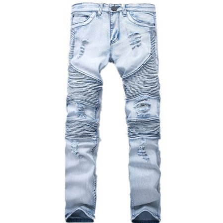 f8d268ec4ae DYMADE Men's Fashion Street Biker Denim Jean Ripped Slim Fit Pants -  Walmart.com