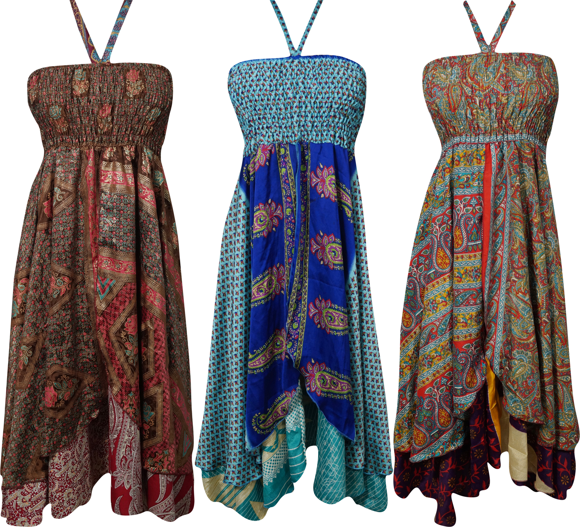 Mogul Womens Silk Sari Halter Dress Recycled Vintage Two Layer Printed Evening Sundress Wholesale Lot Of 3 Pcs