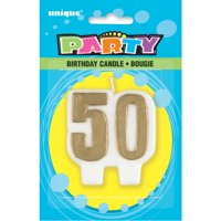 Number 50 Birthday Candle, 2.5 in, Gold, 1ct