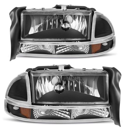 For 1997-2004 Dodge Dakota 1998-2003 Dodge Durango Headlight Assembly Headlamp Replacement with Park Signal Lamp Black Housing, One-Year Warranty(Driver and Passenger Side)
