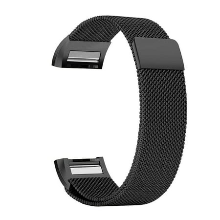Black Ion Stainless Steel Band (Fitbit Charge 2 Bands Replacement Accessories Milanese Loop Stainless Steel Metal Bracelet Strap with Unique Magnet Lock for Fitbit Charge 2 (Black,)