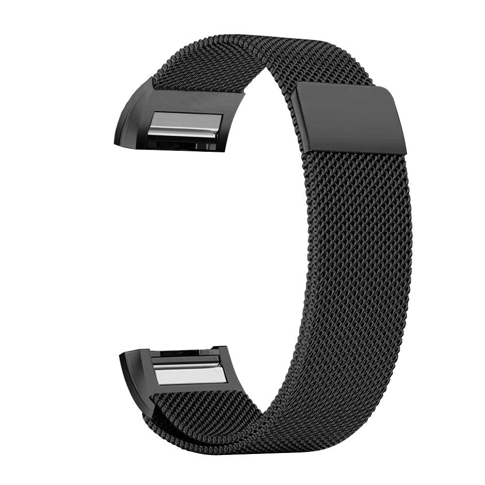iGK Fitbit Charge 2 Bands Replacement Accessories Milanese Loop Stainless Steel Metal Bracelet Strap with Unique Magnet Lock for Fitbit Charge 2 (Black, Large)