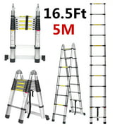 16.5Ft/12.5Ft/10.5ft Aluminum Telescoping Ladder, Non-Slip Folding Ladder with Foot pad Lightweight Multi-Use Retractable Extension Step Loft Ladder, 330lbs Load Capacity