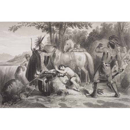 Smith Rescued By Pocahontas 1607 Captain John Smith 1580 - 1631 English Soldier And Explorer Pocahontas Matoaka 1595 - 1617 Algonqiuan Indian Princess From The Book Gallery Of Historical Portraits Pub