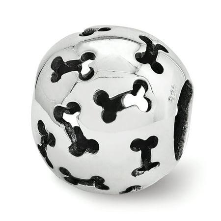 Cutout Dog Bone Charm in Sterling Silver for 3mm Bead Bracelets Diamond Dog Bone Charm
