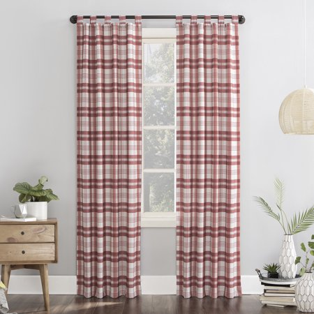 Mainstays Plaid Tab Top Curtain Panel ()