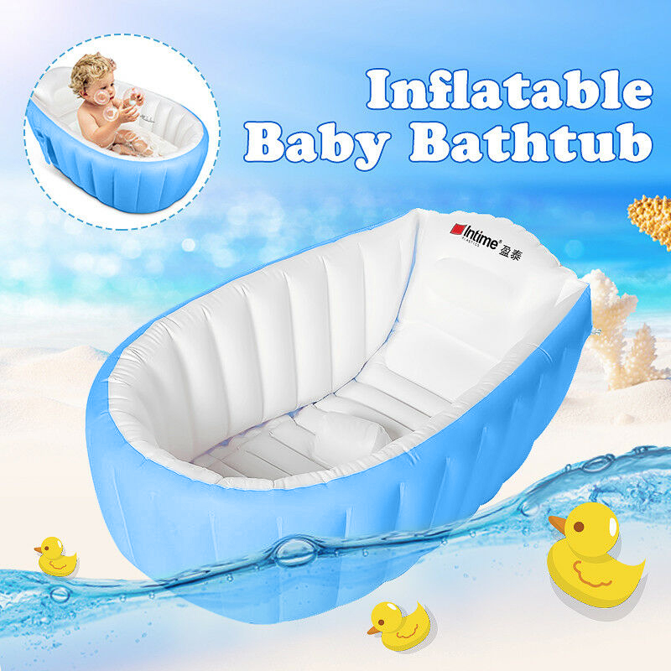 Oenbopo Baby Inflatable Bathtub Portable Infant Toddler Bathing Tub Non Slip Travel Bathtub Mini Air Swimming Pool Kids Thick Foldable Shower Basin Pink