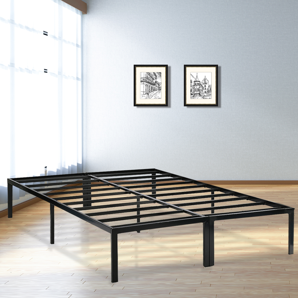 Bed Frame Metal Platform Bed Frame Base Mattress Foundation Frame 14 Inch Portable Heavy Duty Steel Replaces Box Spring Black,Queen Size