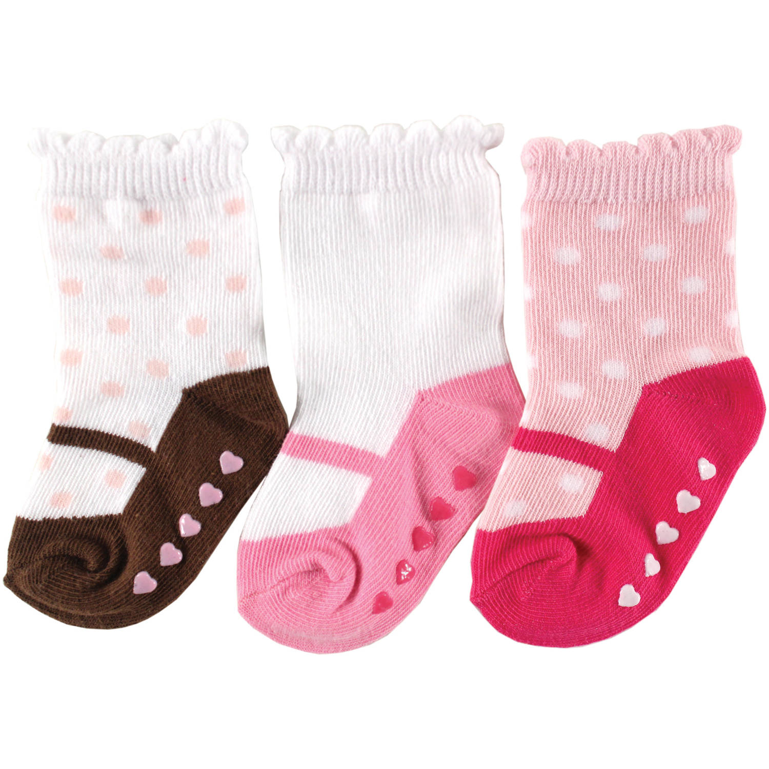 Luvable Friends Newborn Baby Girls Non-Skid Shoes Socks 3-Pack