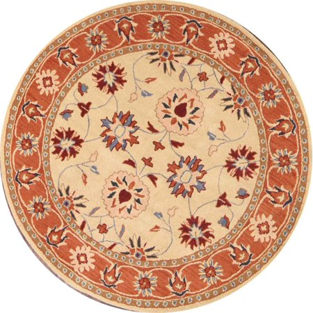 RugSource Hand-Tufted Floral Round 8x8 Oushak Oriental Area Rug Wool ()