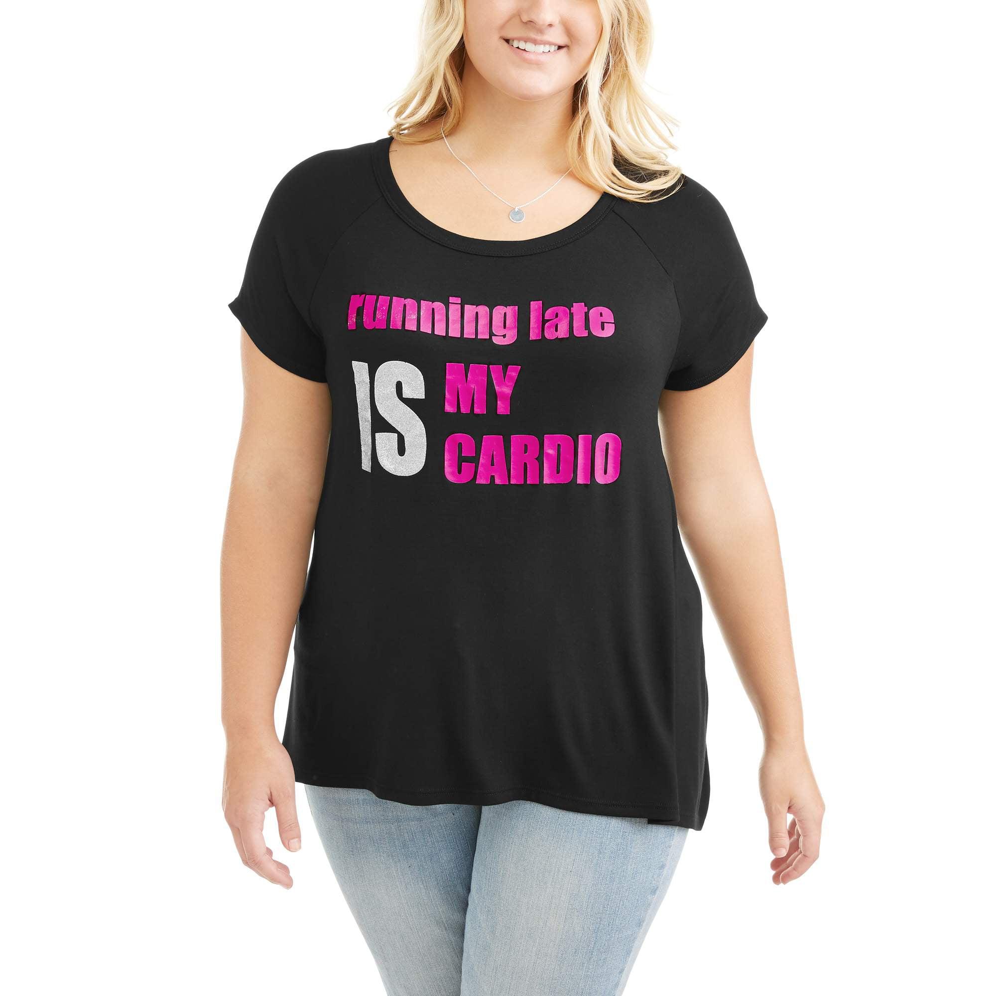 "Eye Candy Juniors' Plus Short Sleeve ""Running Late"" Keyhole Back Tee"