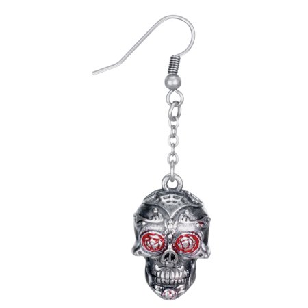 Day of the Dead Tattoo Skull Fish Hook Earrings, Red and Silver Color - Tattoos Of Fish