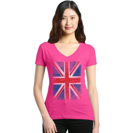 Kids Union Jack Dress (Shop4Ever Women's Union Jack British Flag UK Slim Fit V-Neck)
