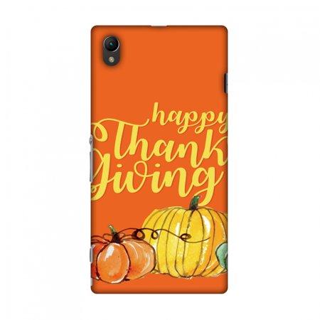 Sony Xperia Z1 L39h Case, Premium Handcrafted Designer Hard Shell Snap On Case Printed Back Cover with Screen Cleaning Kit for Sony Xperia Z1 L39h, Slim, Protective - Pumpkin