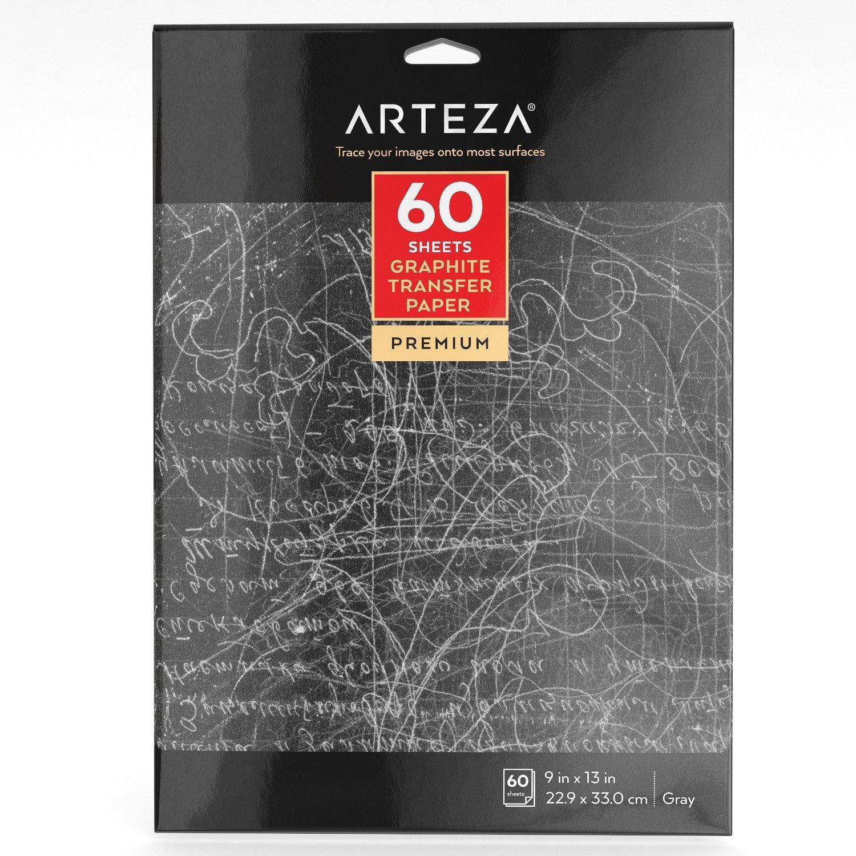 """Arteza 9"""" x 13""""Graphite Transfer Paper (60 Sheets)"""