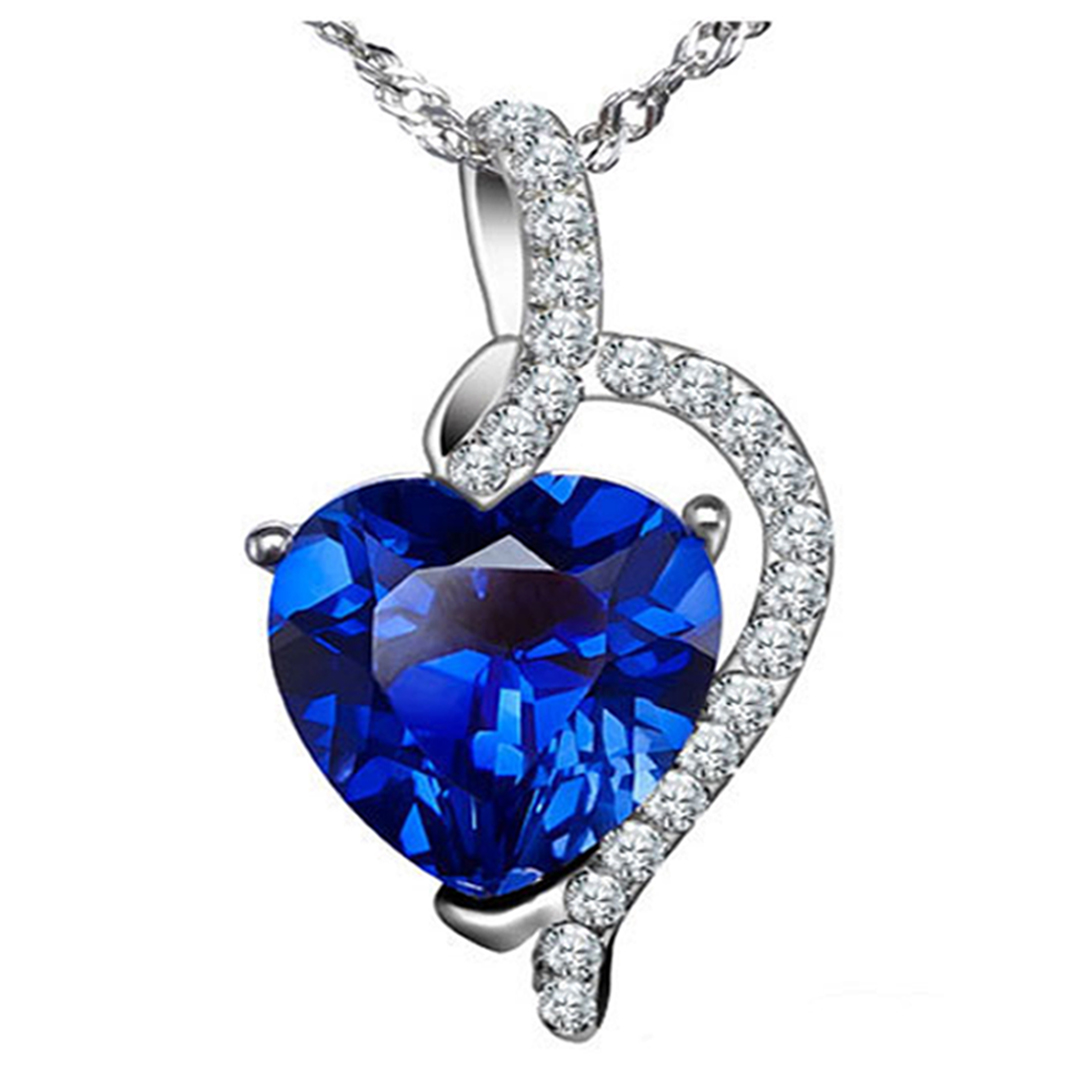 Devuggo 4.10 Carat TCW Heart Shaped Gemstone Created Blue Sapphire 925 Sterling Silver Necklace Pendant with free... by