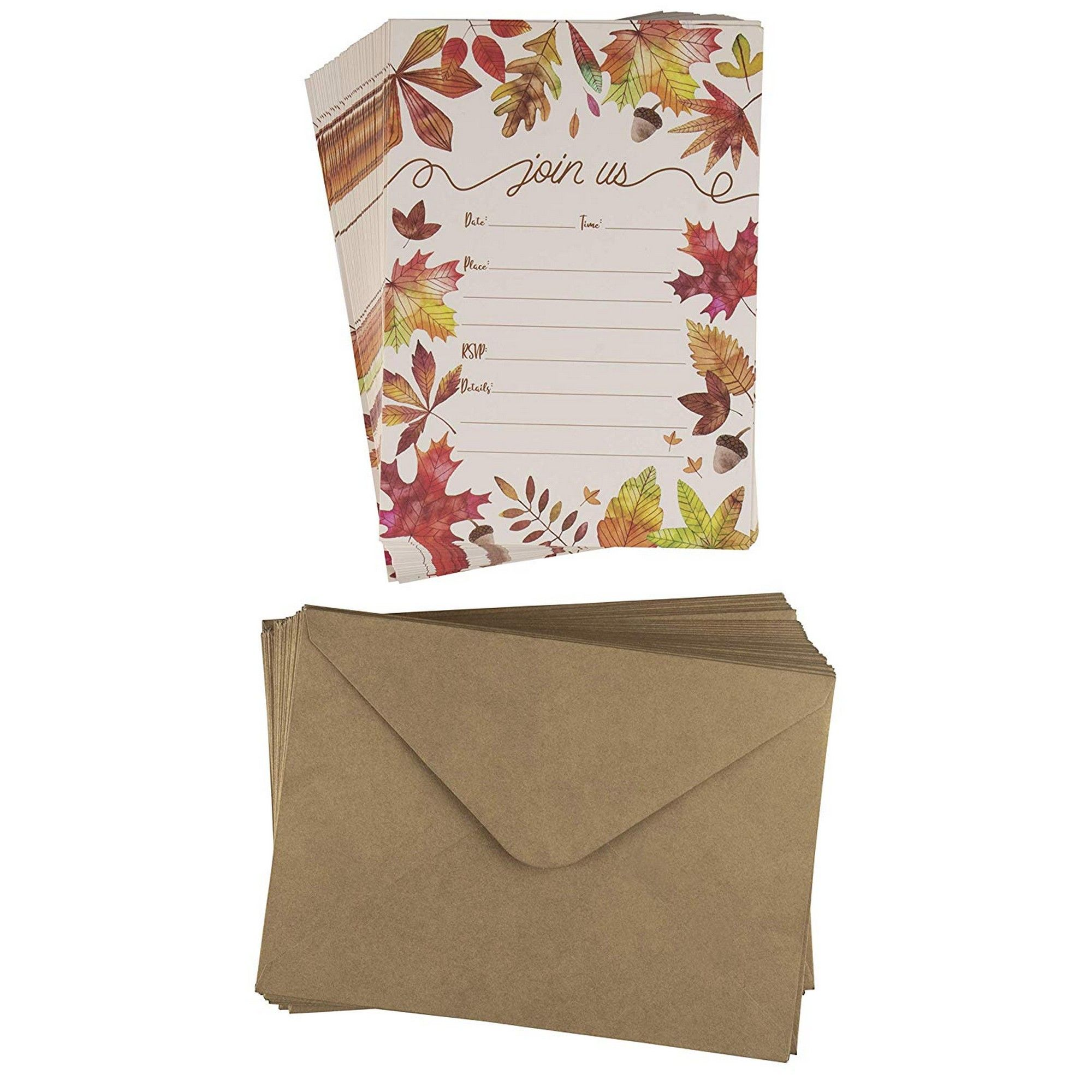 Fall Themed Wedding Invitations: 50-Pack Thanksgiving Dinner Party