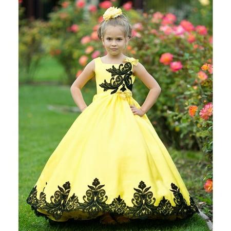 63dd37115e8 TriumphDress - Little Girls Yellow Black Satin Lace Applique Sunset Ball Flower  Girl Dress - Walmart.com