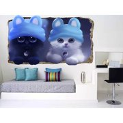 Startonight 3D Mural Wall Art Photo Decor Baby Cats Amazing Dual View Surprise Medium Wall Mural Wallpaper for Bedroom Kids Wall Paper Art Gift 47.24 ?? By 86.61 ??