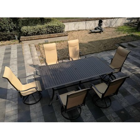 7pc Cast Aluminum and Swivel Sling Chairs & Slat Top Table- Bronze & (Sling Bronze)
