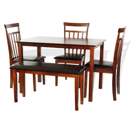 SK New Interiors Dining Kitchen Wood Set of Rectangular Table and 3 Warm Chair Bench, Dark