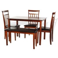 SK New Interiors Dining Kitchen Wood Set of Rectangular Table and 3 Warm Chair Bench, Dark Walnut
