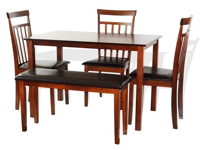 SK New Interiors Dining Kitchen Wood Set of Rectangular Table and 3 Warm Chair Bench  sc 1 st  Walmart & Kitchen Tables with Benches