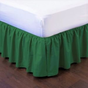 Twin Hunter Green Pleated Dust Ruffled Bed Skirt Bedding Bed Dressing with Split/Open Corners and Easy Fit 14